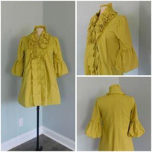 RYU Small ROMANTIC Ruffled Chartruese Jacket Coat